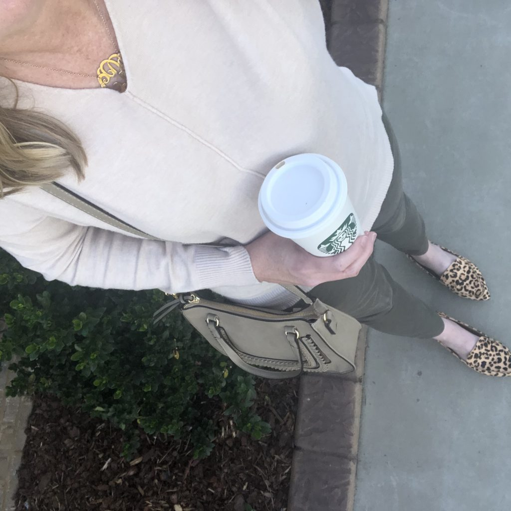 Instagram-Outfits-October-2019-tunic-sweater-olive-jeans-leopard-flats