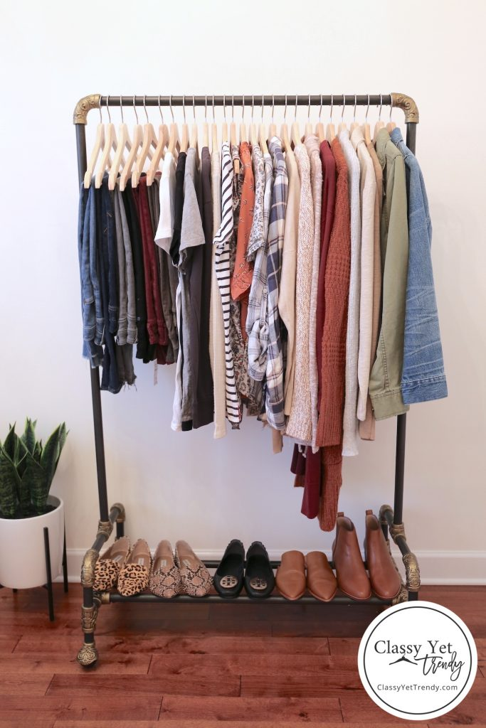 My Fall 2019 Capsule Wardrobe clothes rack full