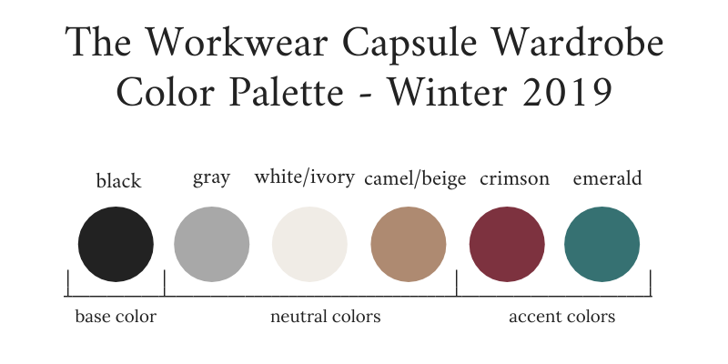 Workwear Capsule Wardrobe Winter 2019 Color Palette