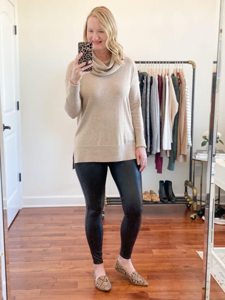 6-Ways-To-Wear-Faux-Leather-Leggings-cowl-neck-sweater-snake-pattern-loafers