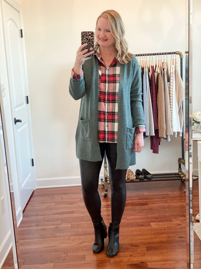 6-Ways-To-Wear-Faux-Leather-Leggings-plaid-shirt-cardigan-ankle-boots
