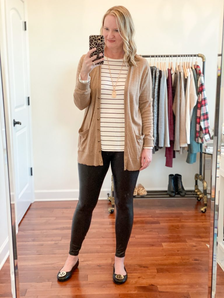 6-Ways-To-Wear-Faux-Leather-Leggings-striped-tee-cardigan-ballet-flats