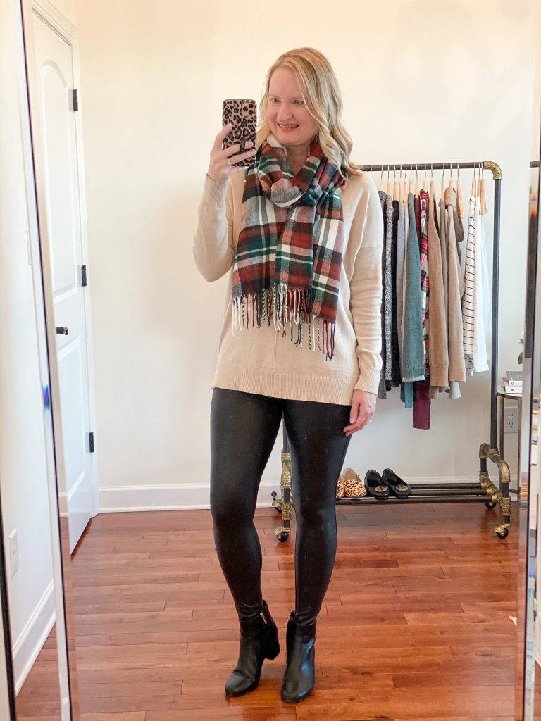 6-Ways-To-Wear-Faux-Leather-Leggings-v-neck-sweater-scarf-ankle-boots