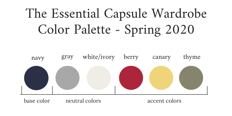 Essential Capsule Wardrobe Spring 2020 Color Palette