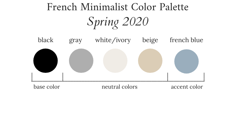 French Minimalist Capsule Wardrobe Spring 2020 Color Palette