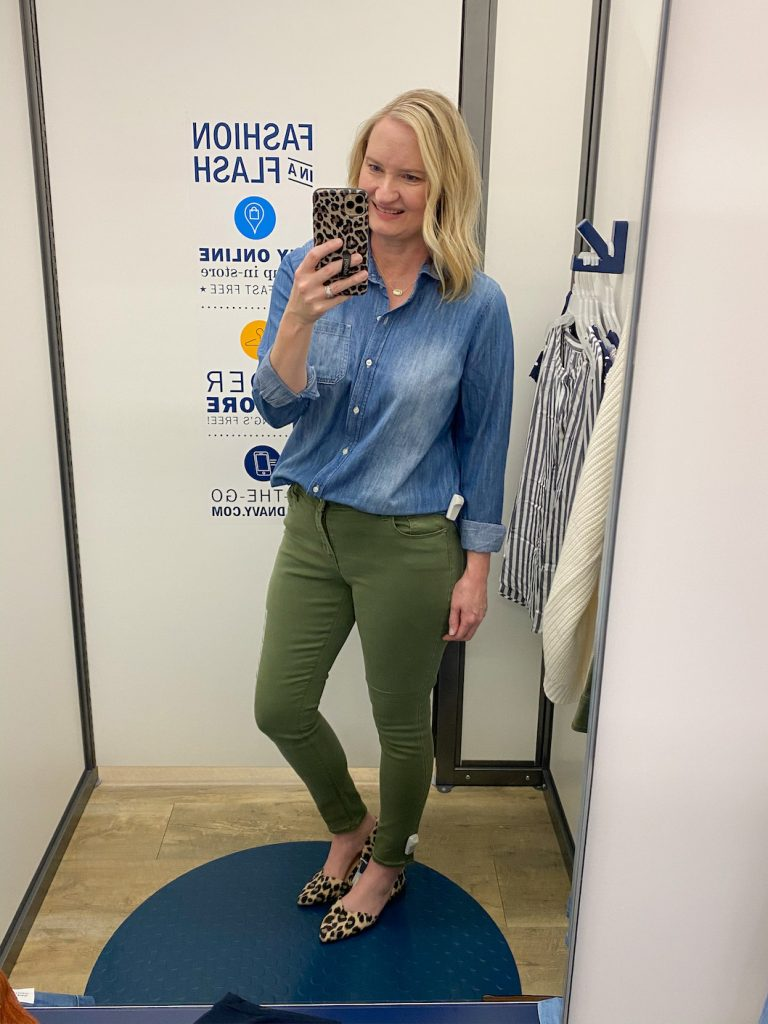 Old-Navy-Try-On-Dressing-Room-Spring-Feb-2020-dark-chambray-top-olive-jeans-leopard-flats
