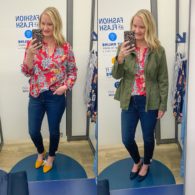 Old-Navy-Try-On-Red-Top-Skinny-Jeans-Utility-Jacket