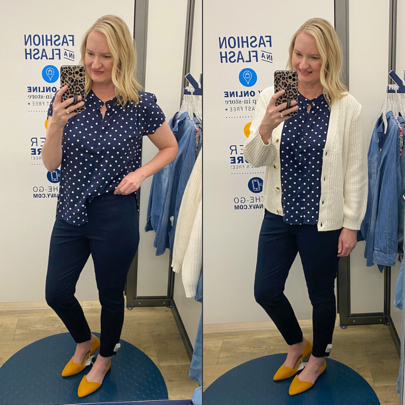 Old-Navy-Try-On-Spring-2020-navy-dot-top-pixie-pants-ivory-cardigan