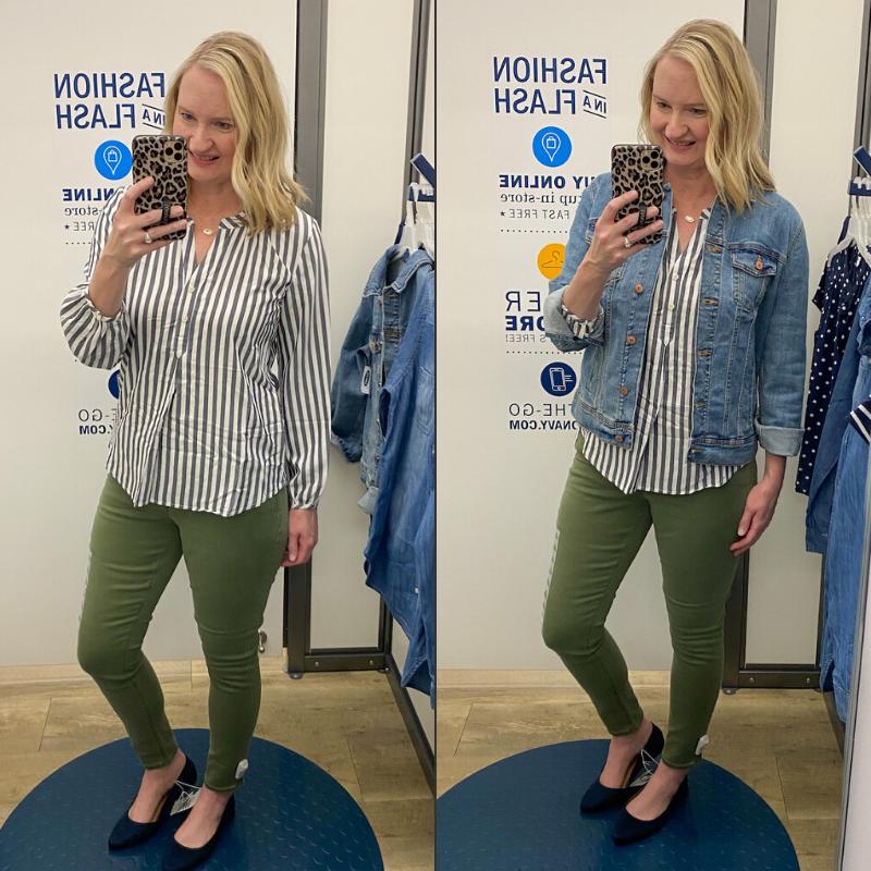 Old-Navy-Try-On-Spring-2020-striped-top-olive-jeans-denim-jacket
