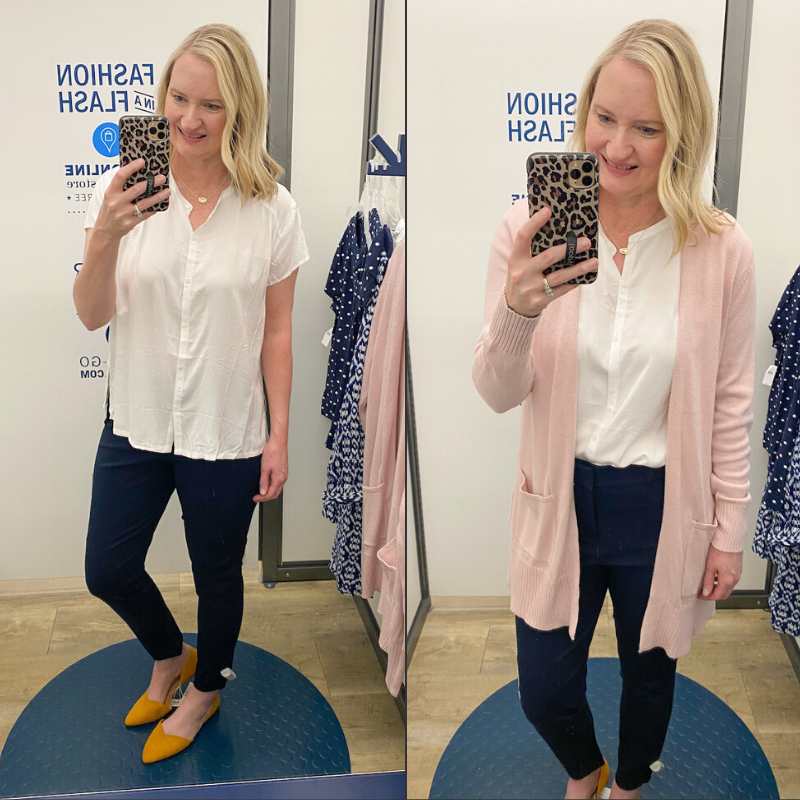 Old-Navy-Try-On-Spring-2020-white-top-pixie-pants-pink-cardigan