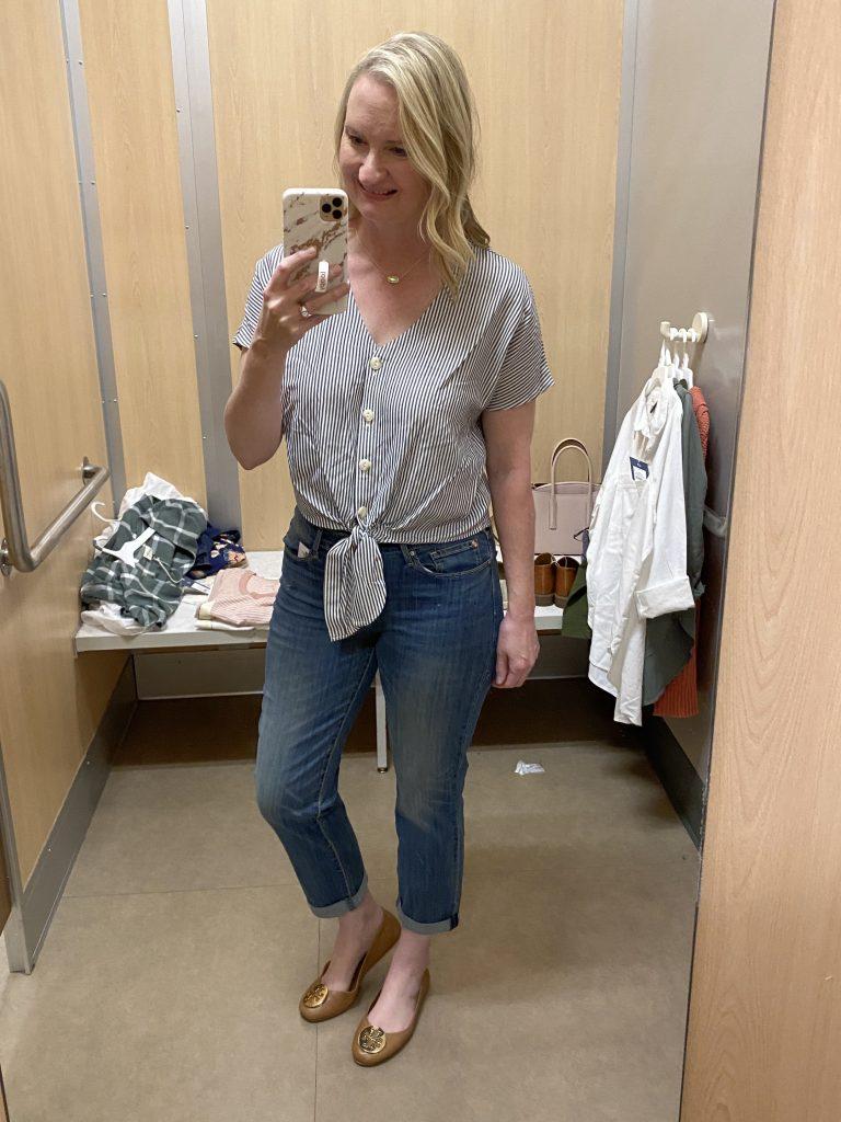 Target-Dressing-Room-Try-On-Feb-2020-3-striped-tie-top-slim-jeans