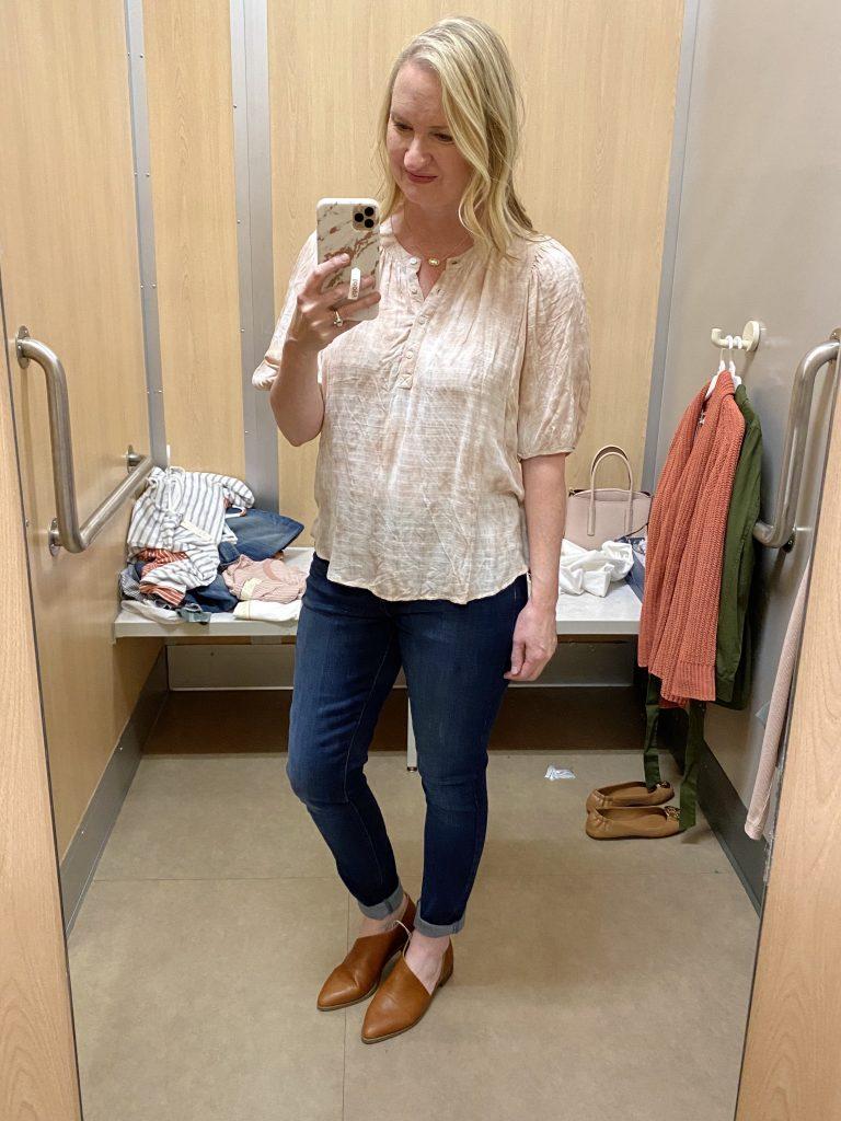 Target-Dressing-Room-Try-On-Feb-2020-9-tie-dye-blouse-skinny-jeans