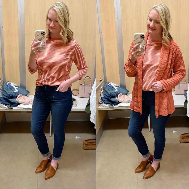 Target-Dressing-Room-Try-On-Feb-2020-coral-tee-outfit