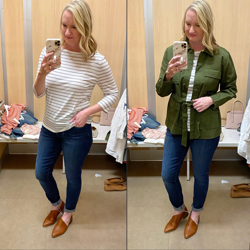 Target-Dressing-Room-Try-On-Feb-2020-striped-tee-utility-jacket-outfit