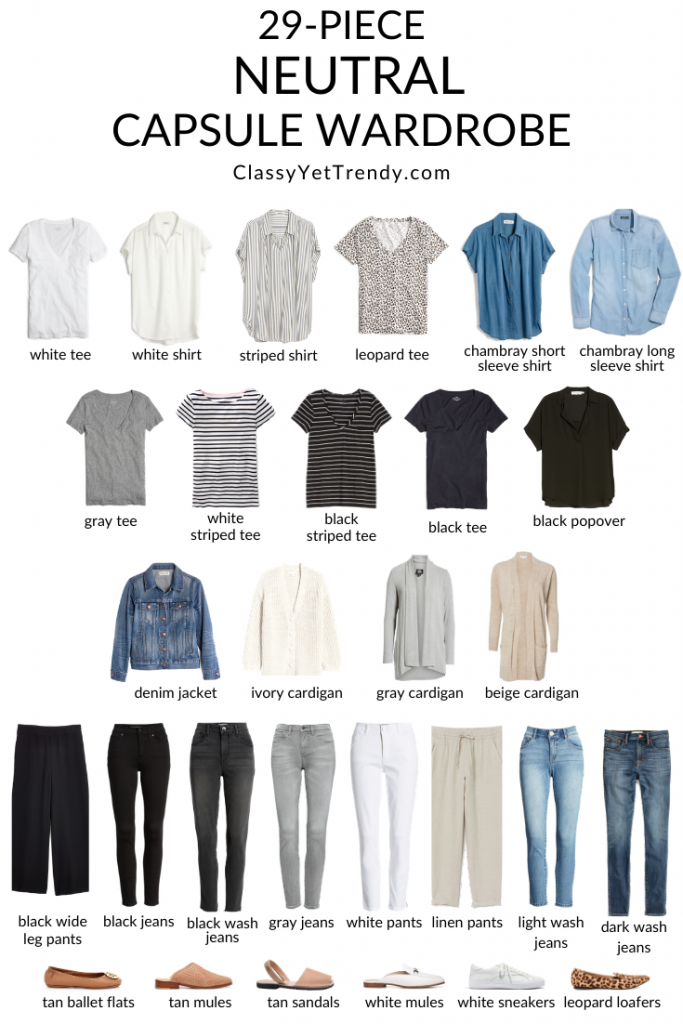 29-Piece-Neutral-Capsule-Wardrobe-clothes-tops-bottoms-layers-shoes- Flatlay