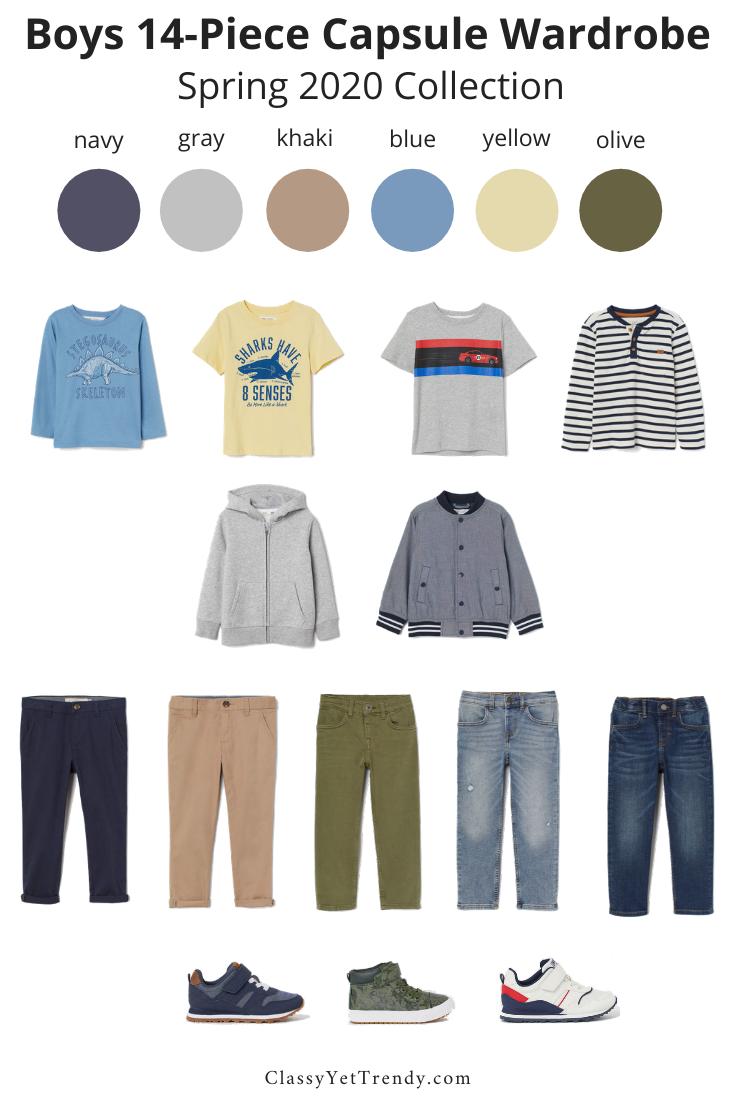 Boys 14 Piece Spring 2020 Capsule Wardrobe Classy Yet Trendy