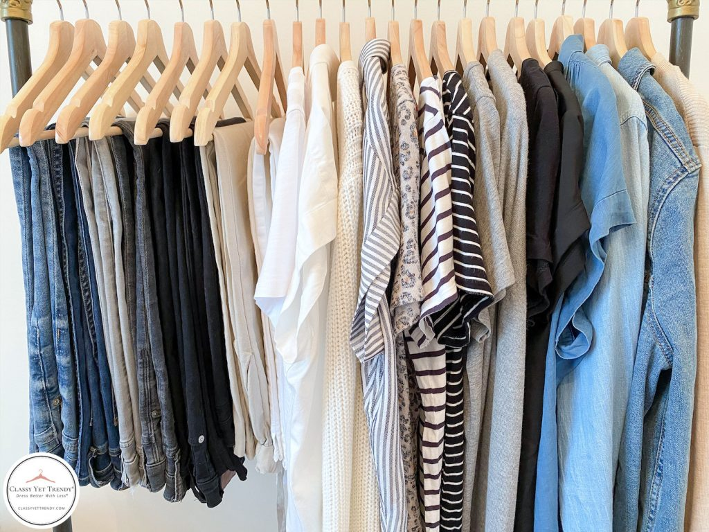 My-29-Piece-Neutral-Spring-Capsule-Wardrobe-clothes-rack-closeup