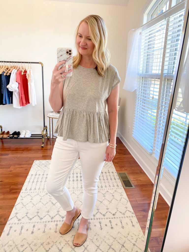 Loft-Target-Red-Dress-Boutique-Try-On-gray-peplum-top-white-pants