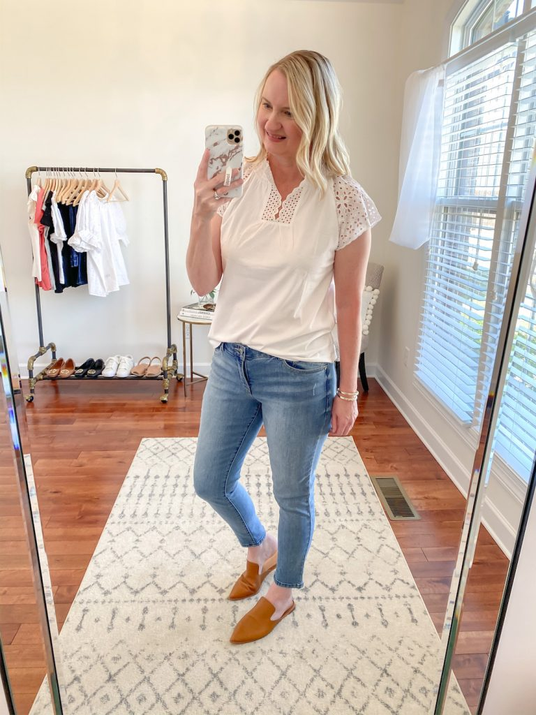 Loft-Target-Red-Dress-Boutique-Try-On-white-eyelet-top-skinny-jeans-madewell-mules