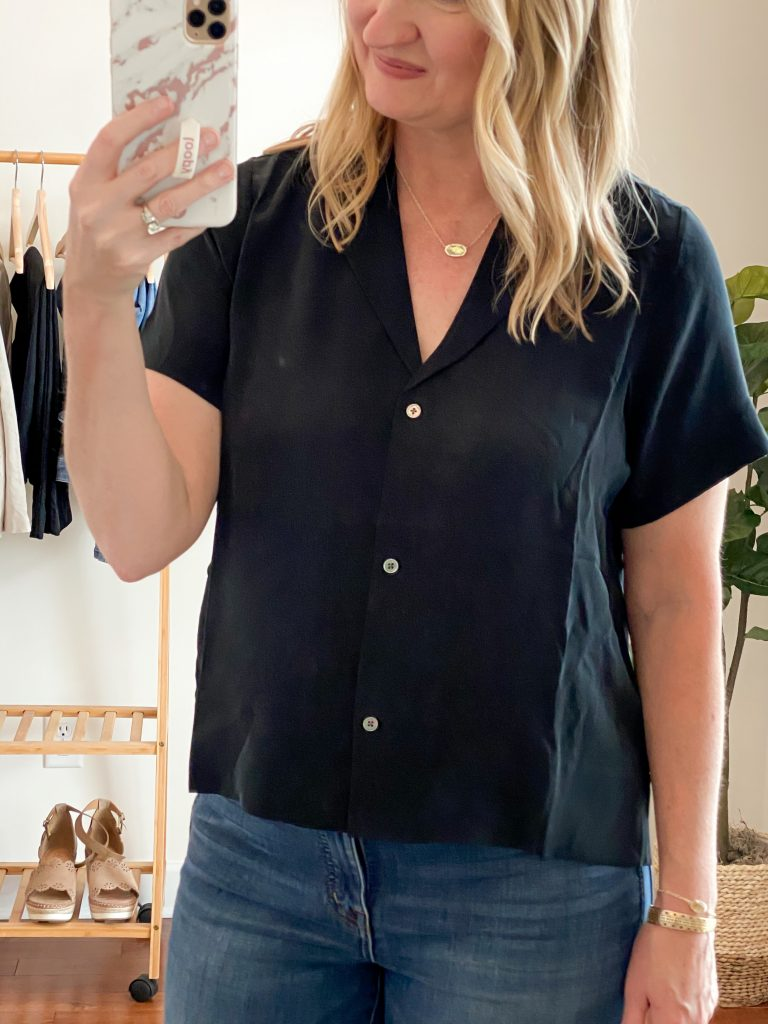 Everlane Eileen Fisher Grayson Try On Session Apr 2020 - black silk shirt closeup