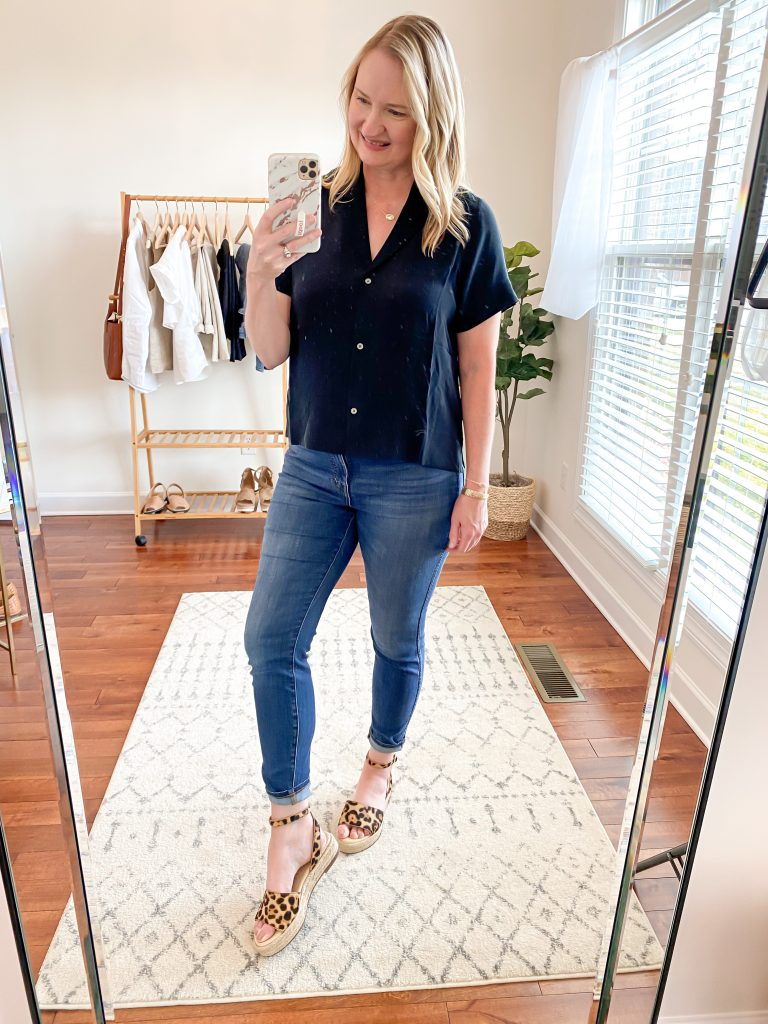 Everlane Eileen Fisher Grayson Try On Session Apr 2020 - black silk shirt skinny jeans leopard sandals