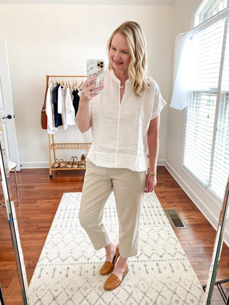 Everlane Eileen Fisher Grayson Try On Session Apr 2020 - linen split neck top linen pants