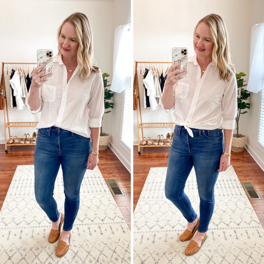 Everlane Eileen Fisher Grayson Try On Session Apr 2020 - side by side white shirt