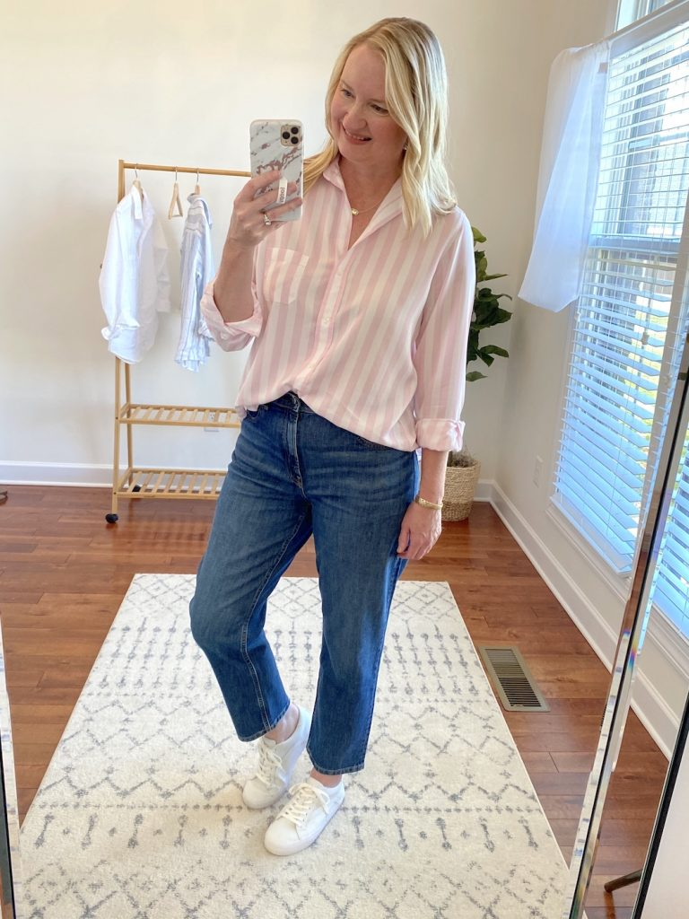 Grayson Shirts Try-On Review - Elizabeth pink stripe full
