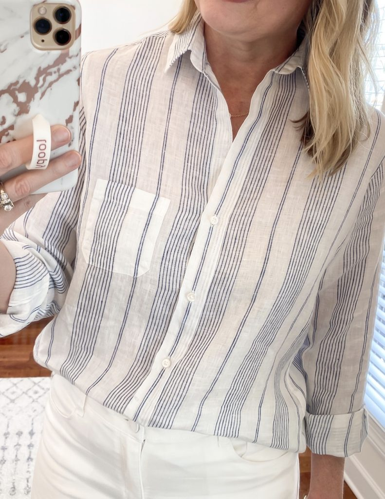 Grayson Shirts Try-On Review - Kristin blue stripe linen closeup
