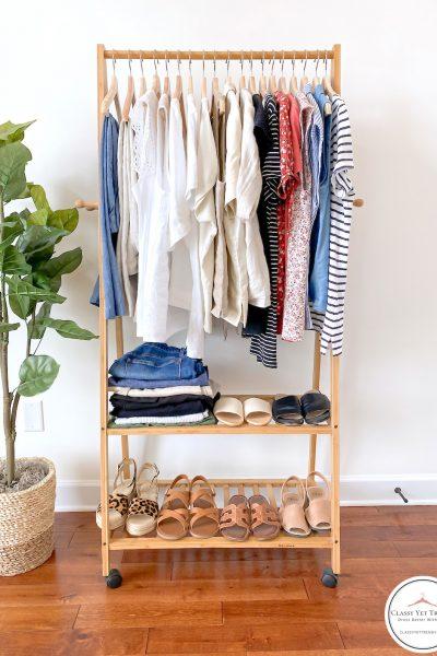32-Piece-Summer-2020-Capsule-Wardrobe-clothes-rack-full