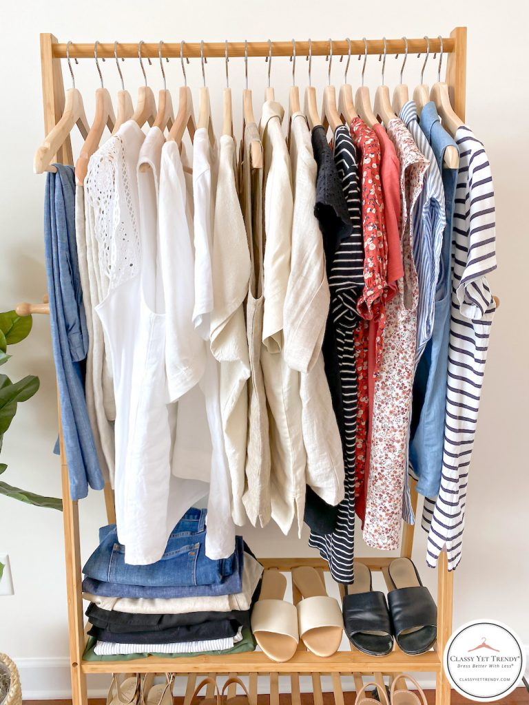 32-Piece-Summer-2020-Capsule-Wardrobe-clothes-rack-half
