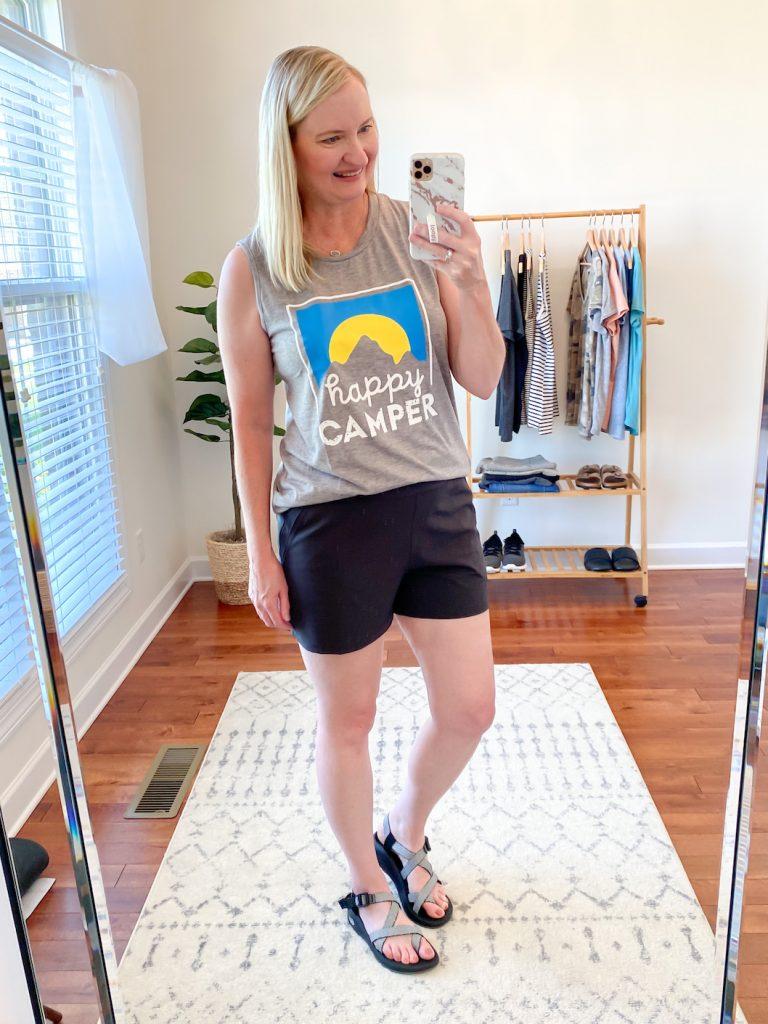 Outdoors-Camping-Capsule-Wardrobe-Summer-2020-Happy-Camper-Amazon-Tank-black-shorts-Chaco-sandals