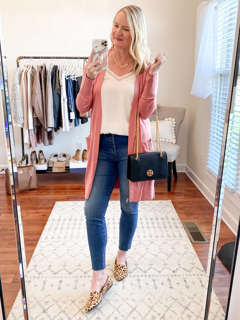 Nordstrom-Anniversary-Sale-2020-Try-On-Round-1-1-State-white-cami-Halogen-open-cardigan-pink-Kut-From-The-Kloth-skinny-jeans-Steve-Madden-leopard-loafers