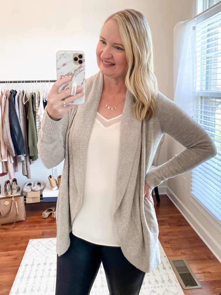 Nordstrom Anniversary Sale 2020 Try-On Round 1 - 1State white cami Barefoot Dreams CozyChic Circle cardigan Kendra Scott Sydney necklace