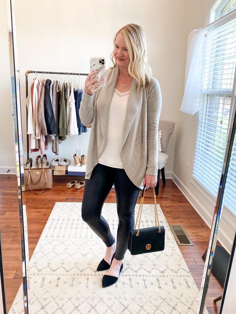 Nordstrom Anniversary Sale 2020 Try-On Round 1 - 1State white cami Barefoot Dreams CozyChic Circle cardigan Spanx leggings Tory Burch Carson convertible black bag