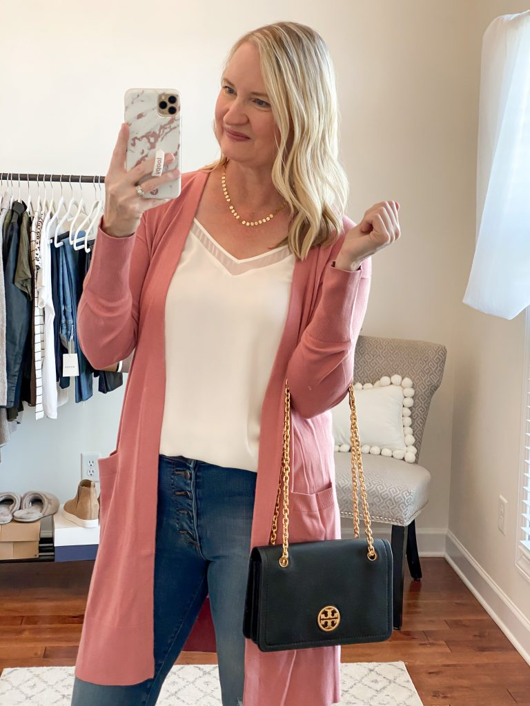 Nordstrom Anniversary Sale 2020 Try-On Round 1 - 1State white cami Halogen pink cardigan Tory Burch Carson Convertible black bag