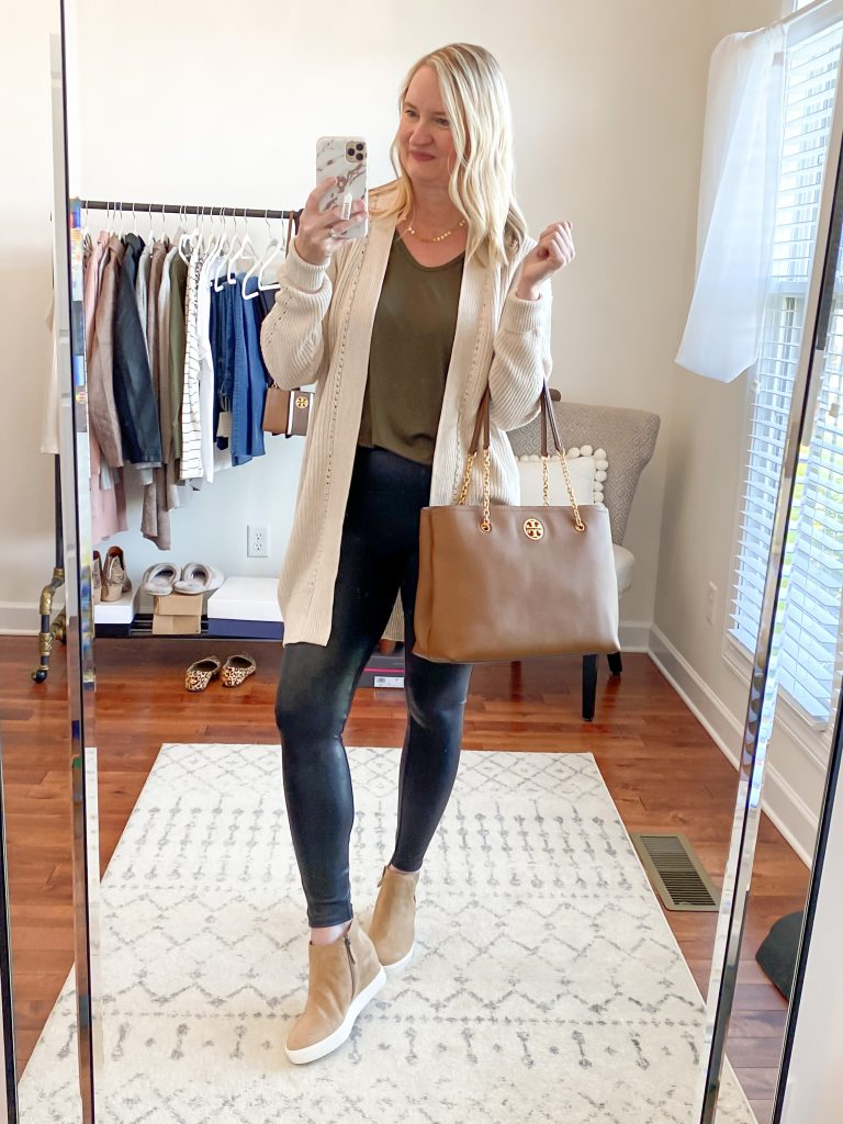 Nordstrom Anniversary Sale 2020 Try-On Round 1 - All In Favor olive tee BP oatmeal cardigan Spanx leggings Caslon wedge sneakers
