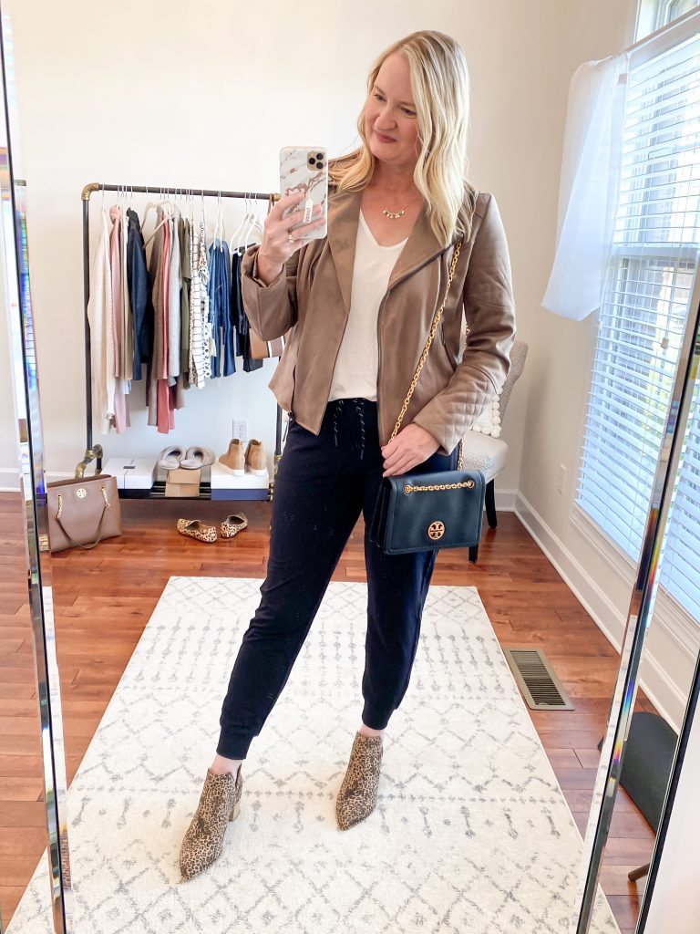 Nordstrom Anniversary Sale 2020 Try-On Round 1 - All In Favor white tee Kut From The Kloth Suede Moto Jacket Zella Jogger Pants Dolce Vita leopard booties