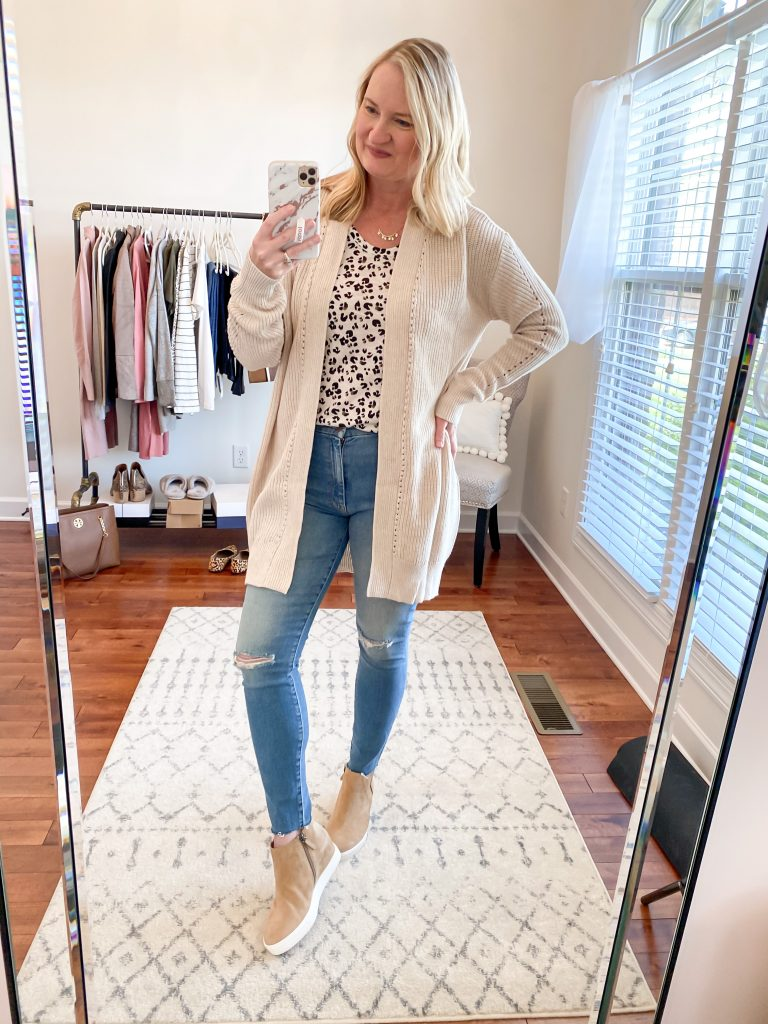 Nordstrom Anniversary Sale 2020 Try-On Round 1 - Caslon leopard tee BP oatmeal cardigan Mother jeans Caslon wedge sneakers