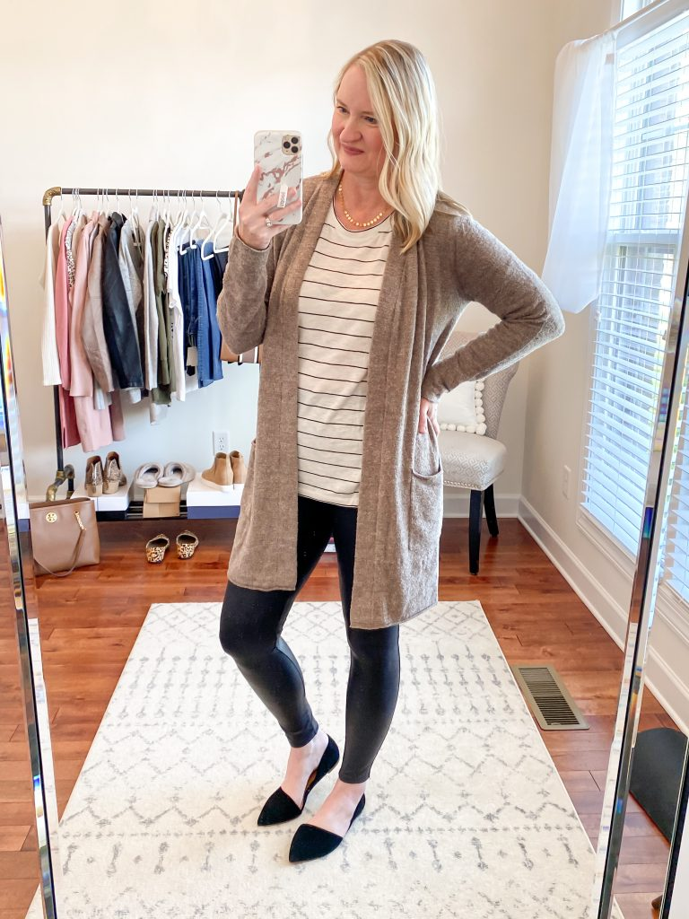 Nordstrom Anniversary Sale 2020 Try-On Round 1 - Caslon striped tee Barefoot Dreams CozyChic long cardigan Spanx leggings