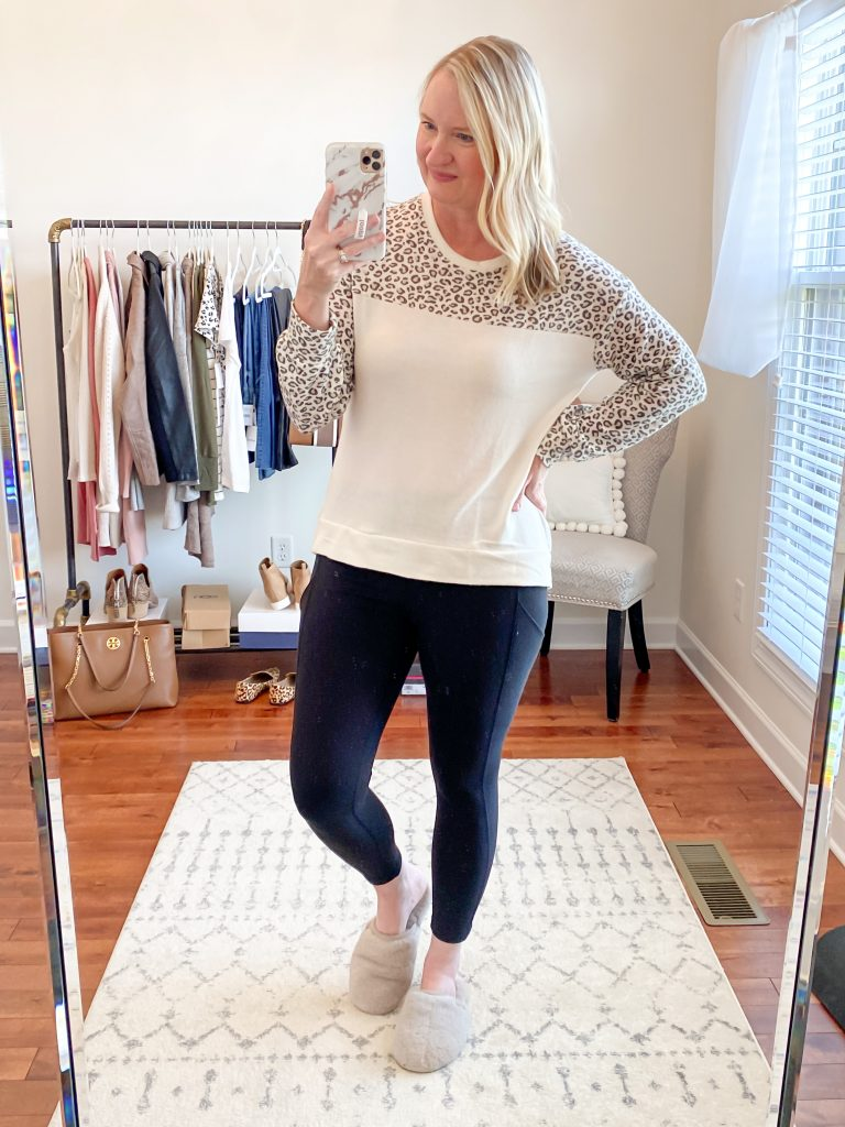 Nordstrom Anniversary Sale 2020 Try-On Round 1 - Gibson cozy leopard pullover Kut From The Kloth skinny jeans Vince Camuto booties wool hat