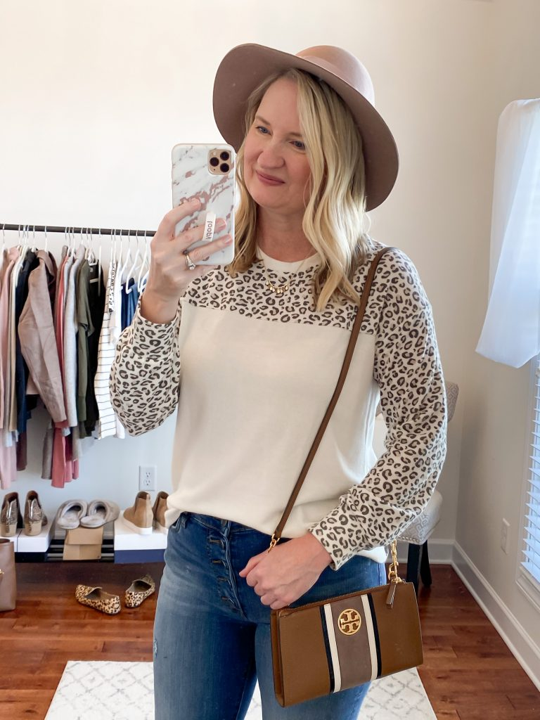 Nordstrom Anniversary Sale 2020 Try-On Round 1 - Gibson cozy olive tunic Spanx leggings Steve Madden leopard loafers wool hat