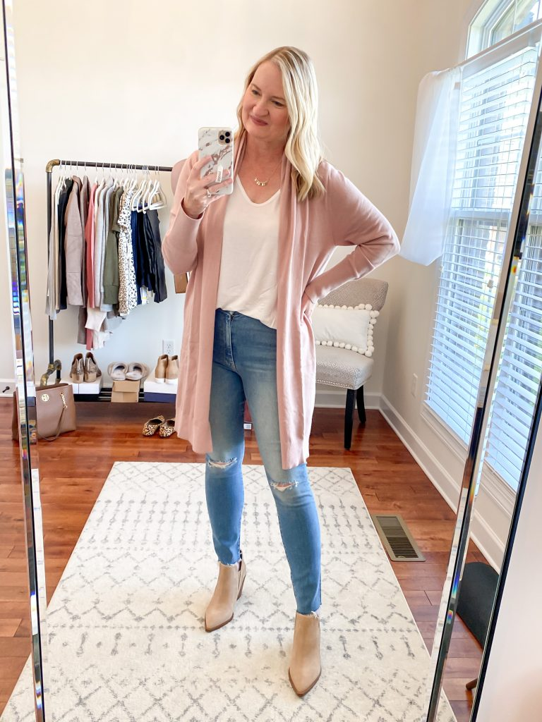 Nordstrom Anniversary Sale 2020 Try-On Round 1 - Leith Cardigan Mother Jeans All In Favor white tee Vince Camuto booties