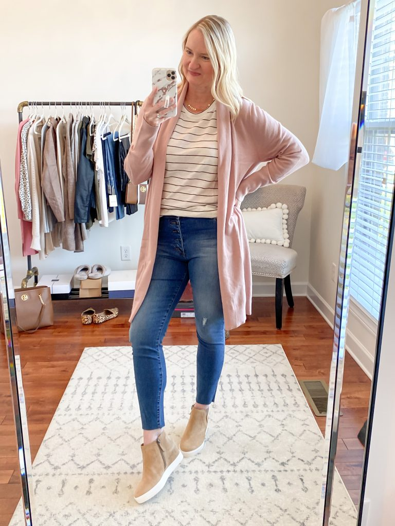 Nordstrom Anniversary Sale 2020 Try-On Round 1 - Leith pink cardigan Caslon striped tee Kut From The Cloth skinny jeans Caslon wedge sneakers