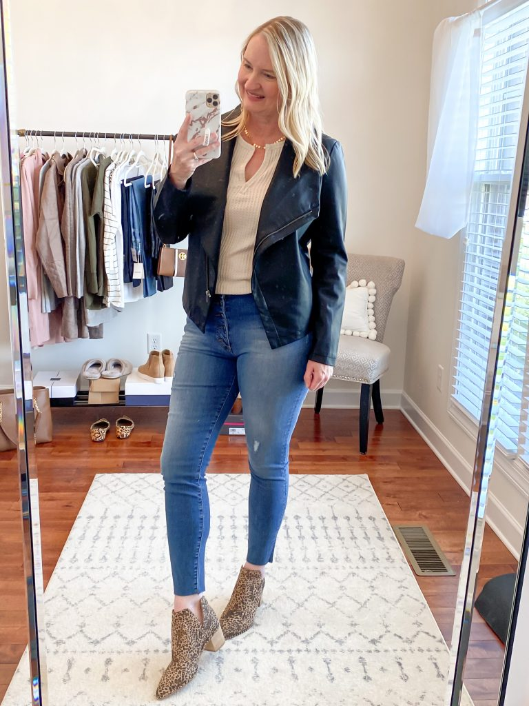Nordstrom Anniversary Sale 2020 Try-On Round 1 - Socialite Thermal top BB Dakota black leather jacket Kut From The Kloth skinny jeans Dolce Vita leopard booties