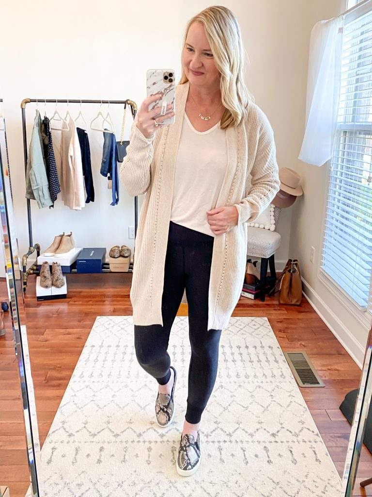 Nordstrom-Anniversary-Sale-2020-Try-On-Round-2-All-In-Favor-tee-BP-cardigan-Zella-restore-leggings-Cole-Haan-snake-sneakers