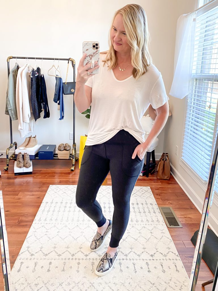 Nordstrom Anniversary Sale 2020 Try-On Round 2 - All In Favor tee Zella restore leggings Cole Haan snake sneakers
