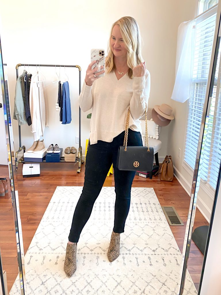 Nordstrom Anniversary Sale 2020 Try-On Round 2 -Chelsea28 sweater Wit and Wisdom black jeans Dolce Vita booties1