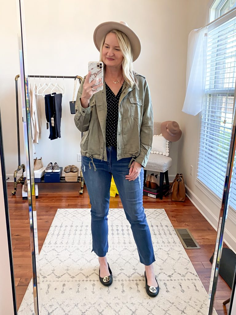 Nordstrom Anniversary Sale 2020 Try-On Round 2 - Vince Camuto polka dot top Rails jacket Wit and Wisdom straight jeans