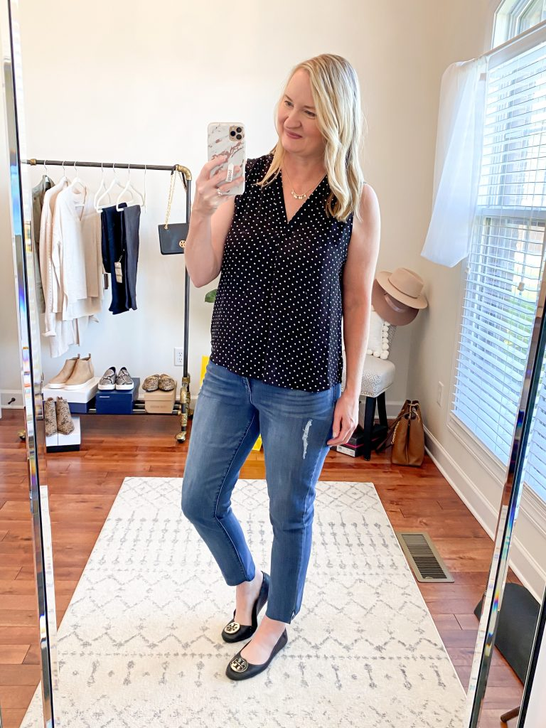 Nordstrom Anniversary Sale 2020 Try-On Round 2 - Vince Camuto polka dot top Wit and Wisdom straight jeans